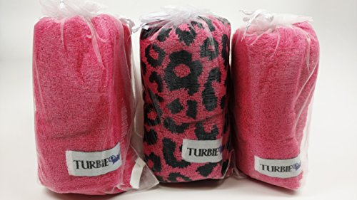 100 Twist - Set of 3 Animal Print 100% Cotton 2 Solid Pink and One Pink Leopard Turbie Twist Hair Towels (Pink Leopard)