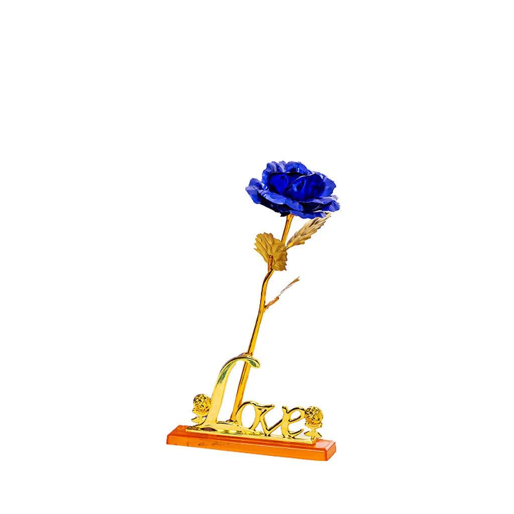 Mariage /Él/égante Fleur Romantique /éternelle avec Base de Support Bo/îte Cadeau de Luxe Meilleur Cadeau Id/éal Pour Saint Valentin Darringls Rose Plaqu/é Or F/ête des M/ères Anniversaire