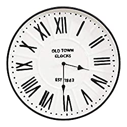 Stratton Home Décor Stratton Home Decor 16 Metal Enamel Parker Wall Clock, Black, White