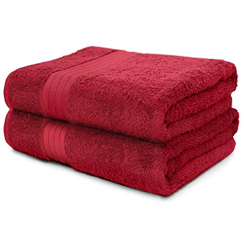 2-Piece Bath Towels Set for Bathroom, Spa & Hotel Quality | 100% Cotton Turkish Towels | Absorbent, Soft, and Eco-Friendly (Burgundy) ()