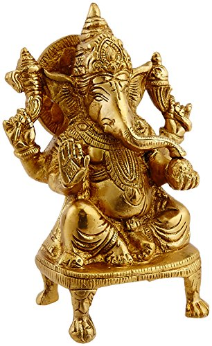 Ganesh, Ganpati, Brass Statue Indian Hand Crafted Religious Sculpture Ganesha (5.5 Inch)