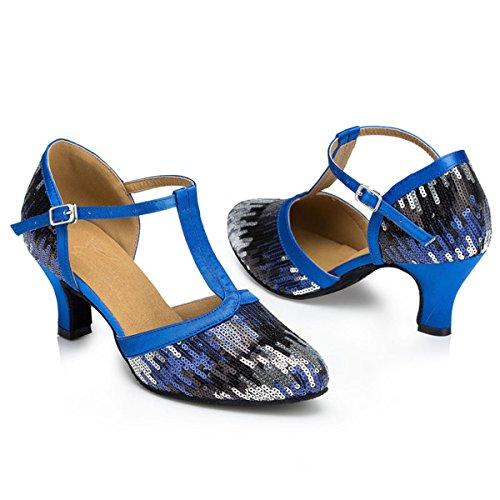 Miyoopark Femmes T-strap Sequin Classique Latin Tango Performance Chaussures De Danse Pompes De Mariage Bleu-6cm Talon