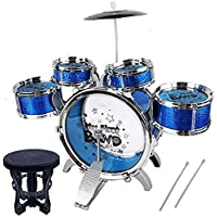 Music Jazz Big Size Musical Drum Set with 5 Drums Toy (Blue)
