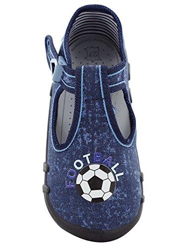 Krexus Mädchen Jungen Kindergartenschuhe Hausschuhe Modell Bilbao Gr. 19-27 EU A-Dunkelblau/Fußball