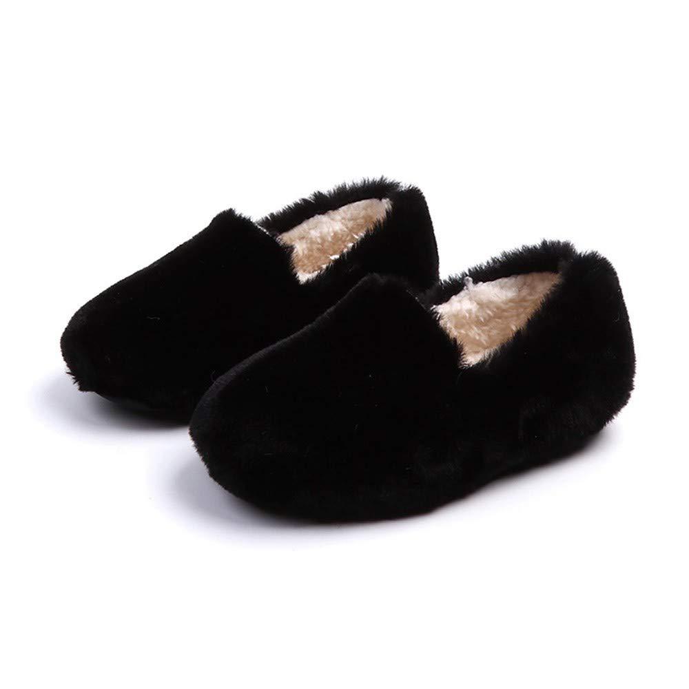 Kids Princess Fluffy Shoes Black, US-9.5 Baby Slipper Girls Warmer Flock Crew Shoes