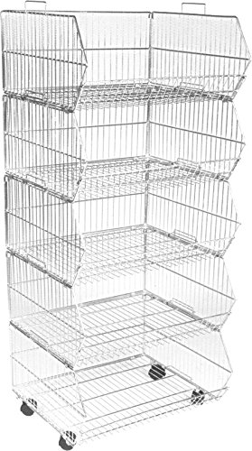 600mm Wide Zinc Storage Stacking Wire Baskets Heavy Duty With Wheels Retail  Display