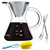 Pour Over Coffee Maker Reusable Stainless Steel Mesh Glass Filter Coffee Dripper with Coffee Scoop set (400ml/3 Cup)