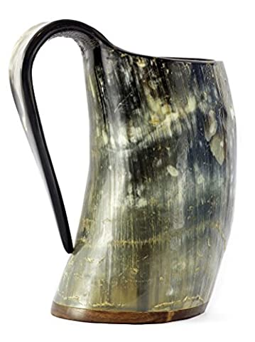 Viking Drinking Ox Horn Mug Set In Original Burlap Gift Sack – Hancrafted 20oz Tankard Cup – Drink Mead & Beer Like Gods from A Large Ale Goblet – Perfect Present for - German Drinking Boot