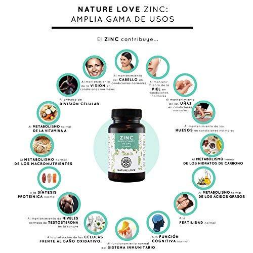 NATURE LOVE® Zinc - 365 comprimidos por un inventario del año. 25 mg de zinc. Gran biodisponibilidad de bisglicinato de zinc. Altamente concentrado, vegano ...