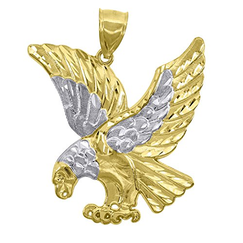 Jewels By Lux 10kt Gold Two-tone DC Mens Eagle Ht:46.3mm x W:22mm Animal Charm Pendant.