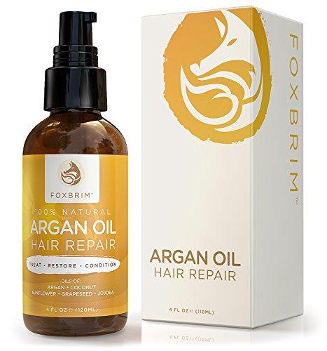 Foxbrim Argan Oil Hair Repair - 100% Natural - Hair Treatment Oil Blend - Argan Oil with Jojoba Oil, Coconut Oil & Shea Butter - Foxbrim 4OZ