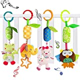 4 Packs Baby Rattle Toy Cat Seat and Stroller Hanging Bell...