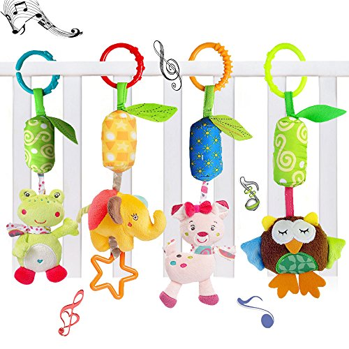 4 Packs Baby Rattle Toy Cat Seat and Stroller Hanging Bell for Newborn Toddlers,KateDy Playing Handbells Use for Baby Car Crib Stroller Toys,Adorable Animal Wind Chime for Tag Along Travel (Tag Along Chimes)