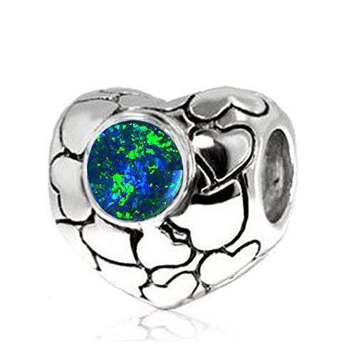 Jovana Sterling Silver Love Hearts Charm Lab Blue Opal, Fits Pandora Bracelet