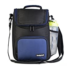"Crossbody Lunch Bag: InsigniaX Insulated Lunch Box For Adults Men Women Boys Girls With Shoulder Strap, Front and Side Pockets [Unisex Messenger Bag] Size H: 11.8"" x W: 3.9"" x L: 7.9"" (Large, Navy Blue)"