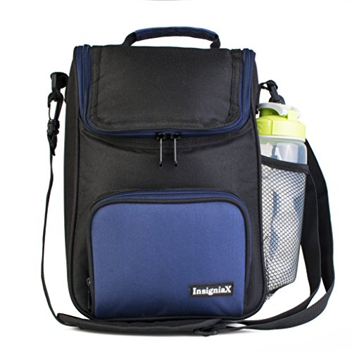 InsigniaX Crossbody Lunch Bag Cool Back to School Lunch Box/Cooler/for Adult Women Men Work Girls Boys with Shoulder Strap Water Bottle Holder H: 11.8 x W: 3.9 x L: 7.9 (Standard, Navy Blue)