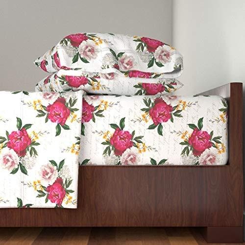 Raspberry Home Decor Fabric - Floral 4pc Sheet Set Botanical Vintage Poem Script Home Decor Large Flowers Girl Nursery by Red Raspberry Design 100% Cotton Sateen King Sheet Set