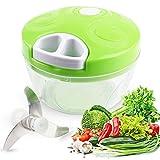 Food Chopper Manual Food Processor - Vegetable Slicer and Dicer - Hand Held-Green