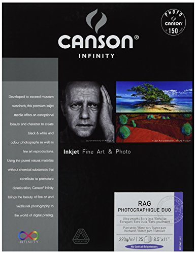 Canson Infinity Rag Photographique Duo Fine Art Paper, 220 Gram, 8.5 x 11 Inch, 25 (220 Art)