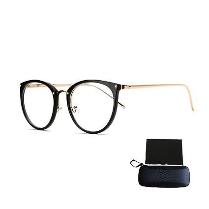qualité supérieure chaussures de sport nombreux dans la variété Pingenaneer Montures de lunettes Rétro Rondes Lunettes de Vue Lentille  Claire pour Homme et Femme Lunettes Cadre Noir mat