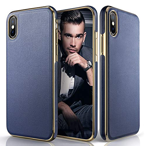 LOHASIC Premium Leather Case for iPhone Xs Max, Slim Luxury Flexible Defender Anti-Slip Soft Grip Shockproof Protective Cover Cases Compatible with Apple iPhone Xs Max (2018) 6.5 inch - Navy Blue ()