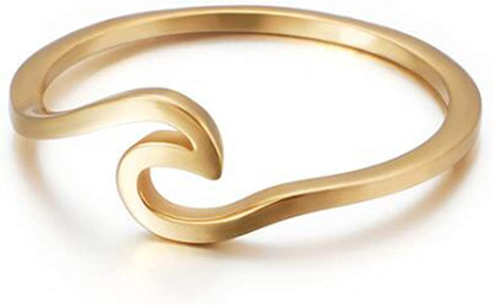 Stainless Steel Ocean Sea Wave Vacation Holiday Promise Statement Ring