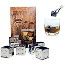 Whiskey Stones Gift Set of 6 Stainless Steel Chilling Stones Ice Cubes Whiskey Rocks Chilling Cubes Beverage Chilling Rocks Reusable Ice Stones Frozen Rocks for Father's Day Birthday Friend by Babali