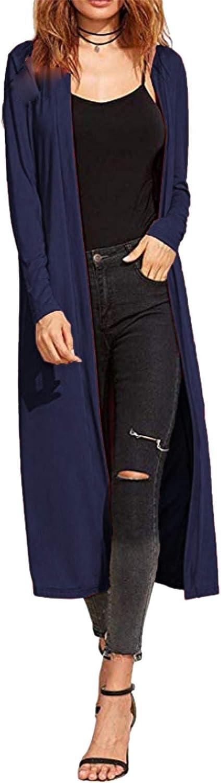 Re Tech UK Maxi Cardigan a Maniche Lunghe con Colletto ed Aperto sul Davanti