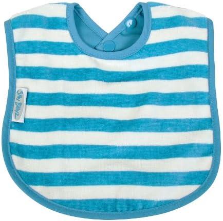 Silly Billyz 17572 - Babero (algodón ecológico, 3 meses a 3 años), diseño de rayas, color azul y beige: Amazon.es: Bebé