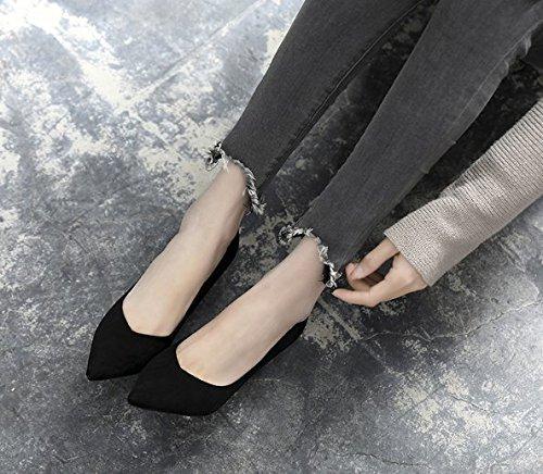 Punto poco Elegante singolo Moda Con scarpe trentotto Sandali alti Tutti profonde Alla 37 Scarpe 8cm Bocca Con match Da nere Donna Ajunr Cat multa tacchi una qTwxRZO