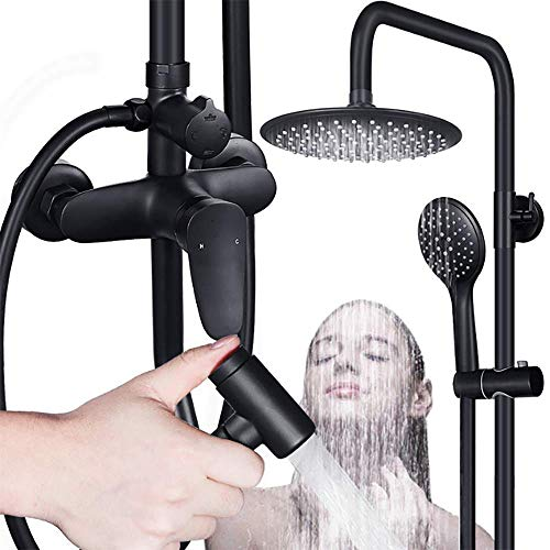 ZQDL 4-in-1 Black Copper Shower Set, Retro European Style, Hot and Cold Mixing Valve, One Button Four Control, Ceramic Valve Core, Supercharged Spray Gun