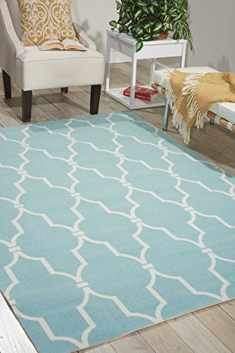 (Nourison Home & Garden (RS087) Aqua Rectangle Area Rug, 5-Feet 3-Inches by 7-Feet 5-Inches (5'3