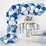 Blue Balloon Garland Kit Blue White Sliver Balloon