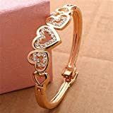 Fashion Womens Gold Plated Crystal Rhinestone Cuff Bangle Heart Charm Bracelet