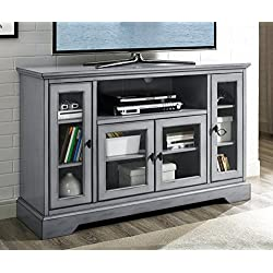 "WE Furniture 52"" Wood Highboy Style Tall TV Stand - Antique Grey"