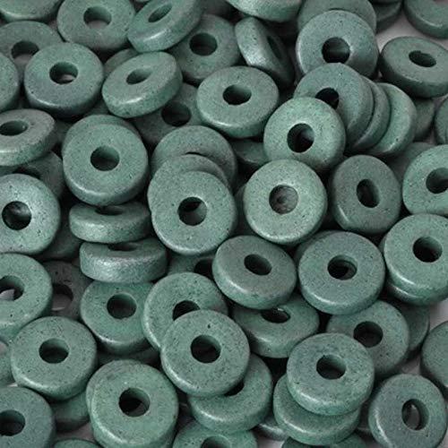 Ceramic Beads-8mm Round Disc-Sage Green-Quantity 50