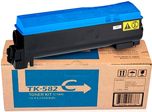 Kyocera 1T02KTCUS0 Model TK-582C Cyan Toner Kit for FS-C5150DN/P6021CDN; Genuine Kyocera; Up to 2800 Pages Yield, Includes Waste Toner Container ()