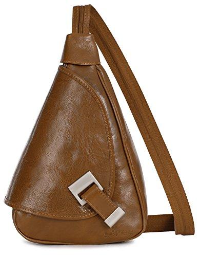 'Mila' de LiaTalia - 2en1 - Pequeño bolso de hombro para mujer ligero y convertible en mochila en auténtica piel italiana Marrón Caramelo