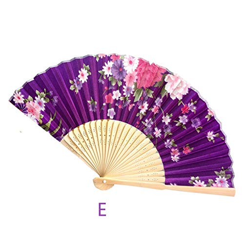 - Vintage Bamboo Folding Hand Held Flower Fan Chinese Dance Party Pocket Gifts Wedding Summer 2,E,China,