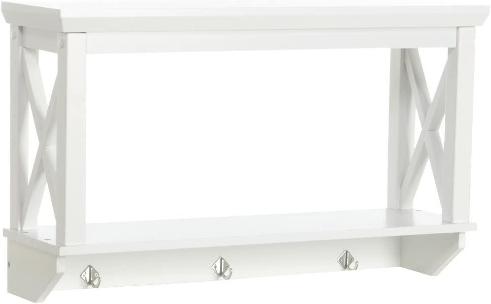 RiverRidge X-Frame Collection Bathroom Wall Shelf with Hooks, White