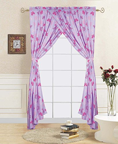 Linens And More 2 panels 2 tiebacks pink/lavender butterfly kids curtain (4 piece set) by Linens And More
