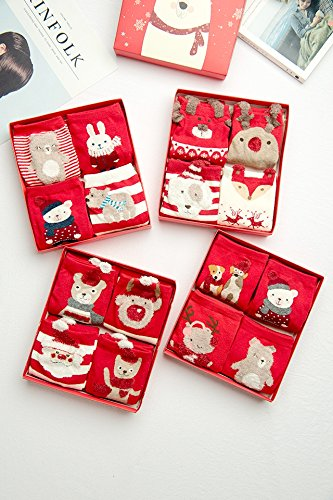 Generic [4 pairs] Ms. autumn and winter cotton socks Christmas gift socks animal year red socks New Year by Generic