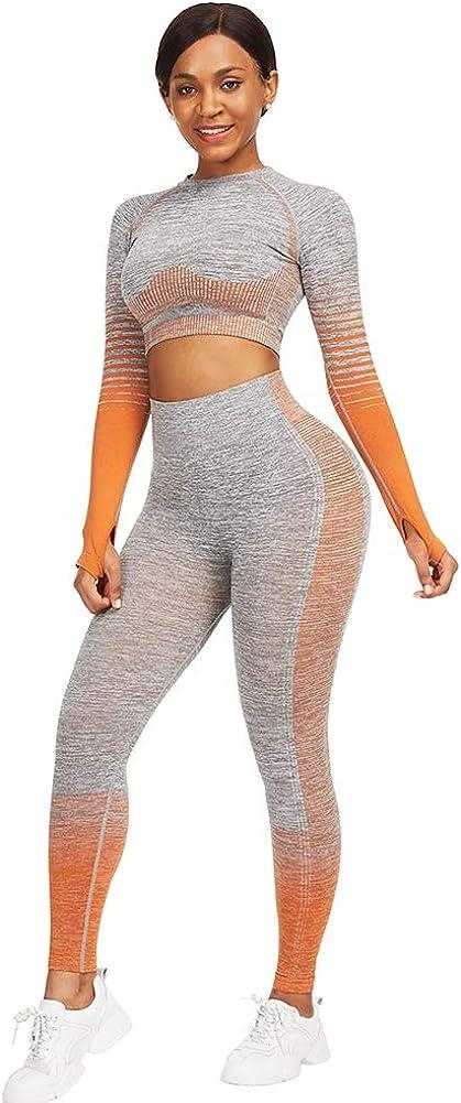 FeelinGirl Women Gym Clothes Athletic Set Seamless Yoga Outfits 2 Piece Set