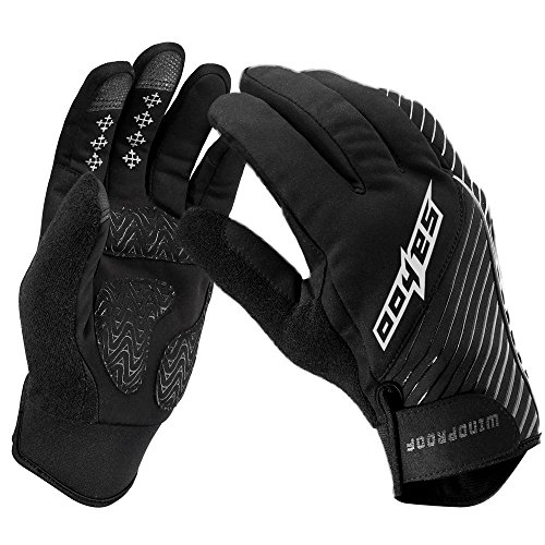 WOTOW Men's Windproof Cycling Gloves, Outdoor Sports Full Finger Winter Warm Breathable Gel Pad Shockproof Palm Anti-slip Silicone Mountain Bike Bicycle Touch Screen Gloves with Adjustable Velcro
