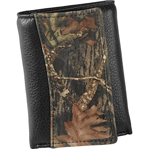 Legendary Whitetails Men's Mossy Oak Black Leather Trifold Wallet Black One size