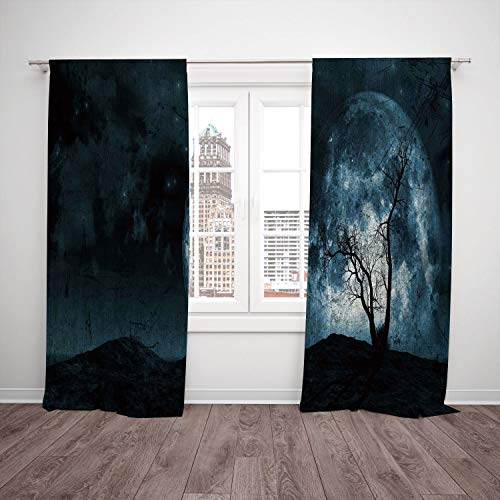 Thermal Insulated Blackout Window Curtain,Fantasy,Night Moon Sky with Tree Silhouette Gothic Halloween Colors Scary Artsy Background,Slate Blue,Living Room Bedroom Kitchen Cafe Window Drapes 2 Panel S for $<!--$102.99-->
