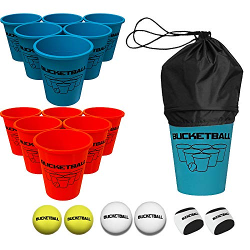 BucketBall - Beach Edition Combo Pack - Ultimate Beach, Pool, Yard, Camping, Tailgate, BBQ, Lawn, Water, Indoor, Outdoor Game – Best Gift Toy for Adults, Boys, Girls, Teens, Family
