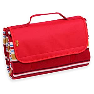 Yodo Compact Water-Resistant Picnic Blanket Tote (59 X 53 inches) with Soft Fleece,Spring Summer Red Stripe