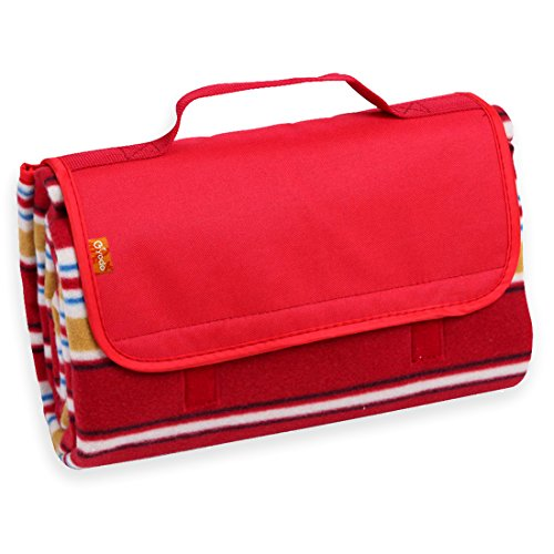 (yodo Outdoor Water-Resistant Picnic Blanket Tote,Spring Summer Red Stripe)