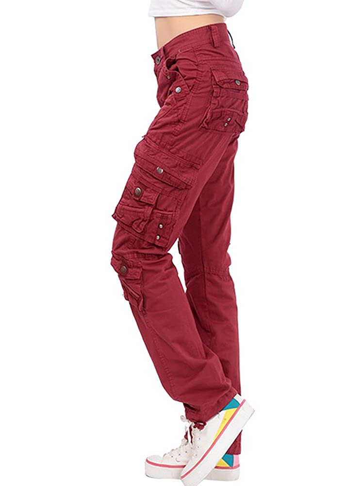 Gooket Women's Cotton Casual Straight Leg Cargo Pants with Multiple Pockets GZK2-9506-03